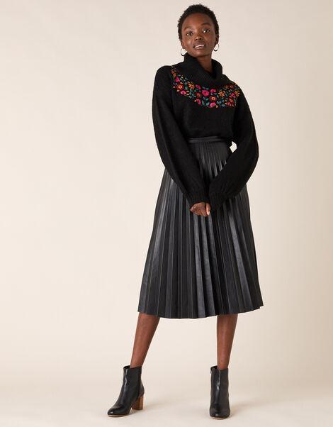 Pleated Leather-Look Midi Skirt Black, Black (BLACK), large