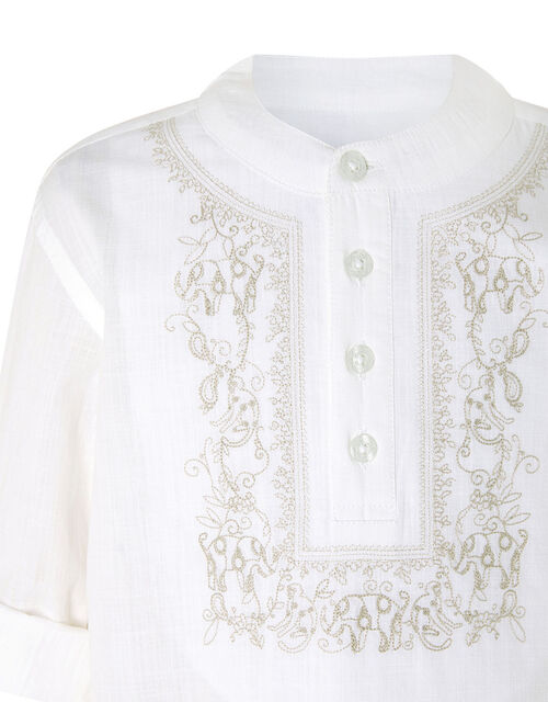Kurta Embroidered Shirt in Pure Cotton, Ivory (IVORY), large