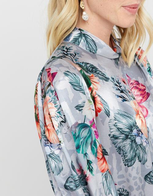 Shanie Floral Print Top, Grey, large