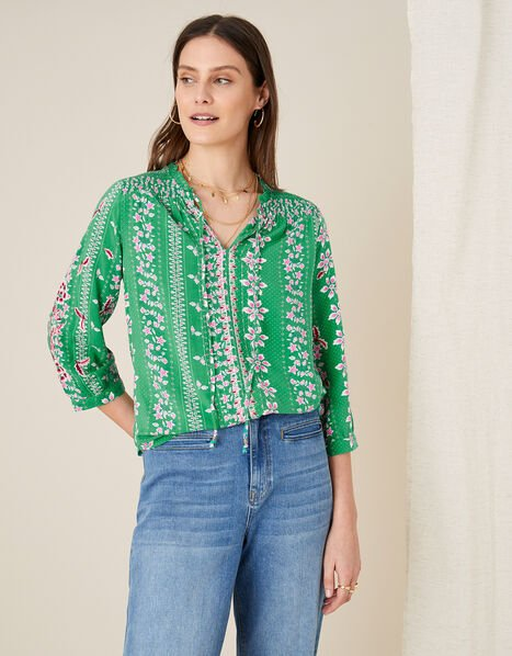 Floral Tie Neck Blouse Green, Green (GREEN), large
