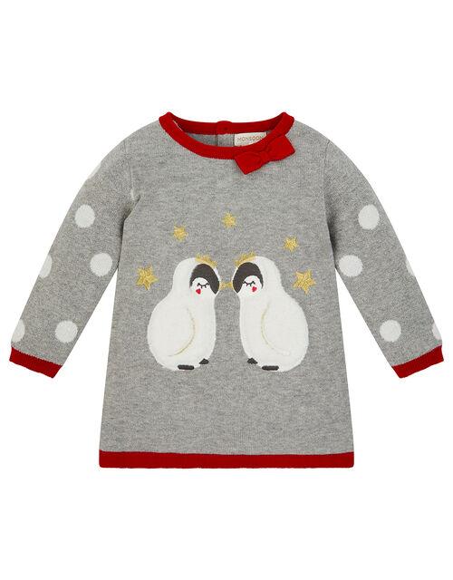 Newborn Baby Penguin Knit Dress, Grey (GREY), large