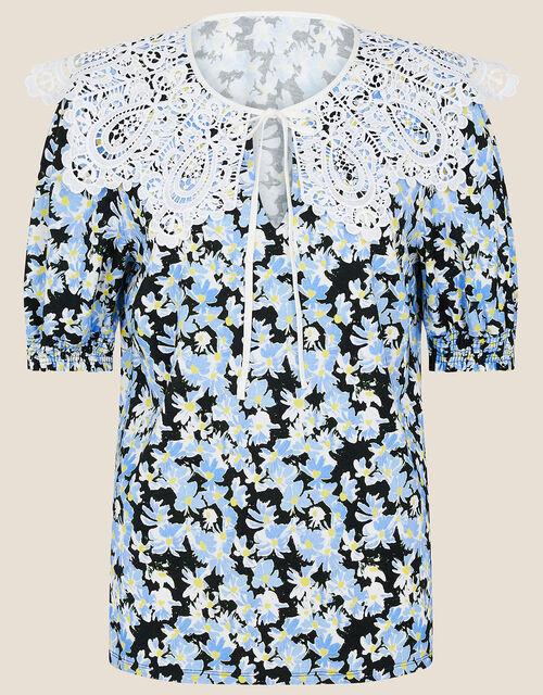Zita Lace Collar Floral Jersey Top, Black (BLACK), large