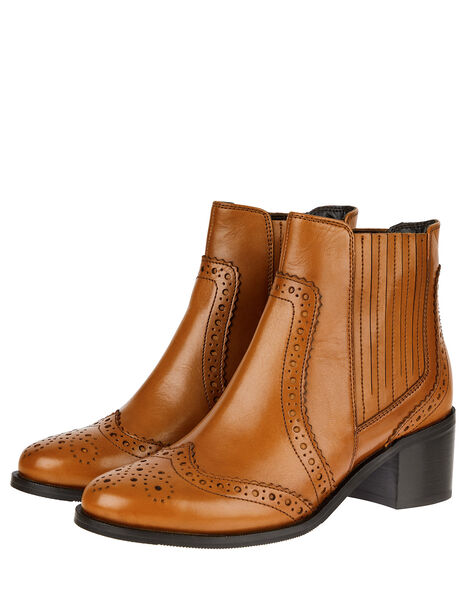 Brogue Leather Ankle Boots Tan, Tan (TAN), large