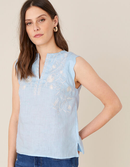 Floral Embroidered Tank Top, Blue (BLUE), large