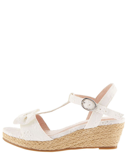 Broderie Wedge Sandals, Ivory (IVORY), large