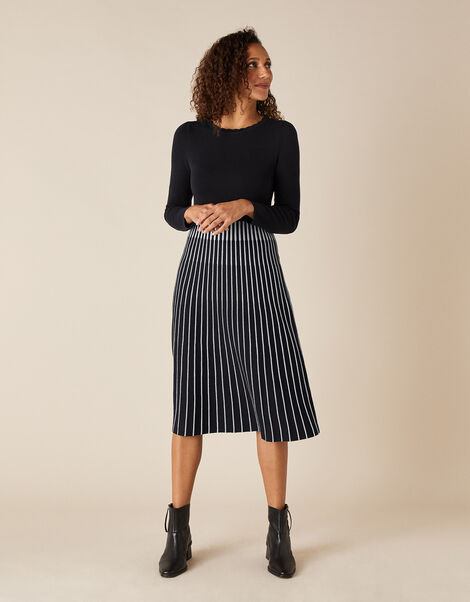 Monochrome Pleated Skirt Dress Blue, Blue (NAVY), large