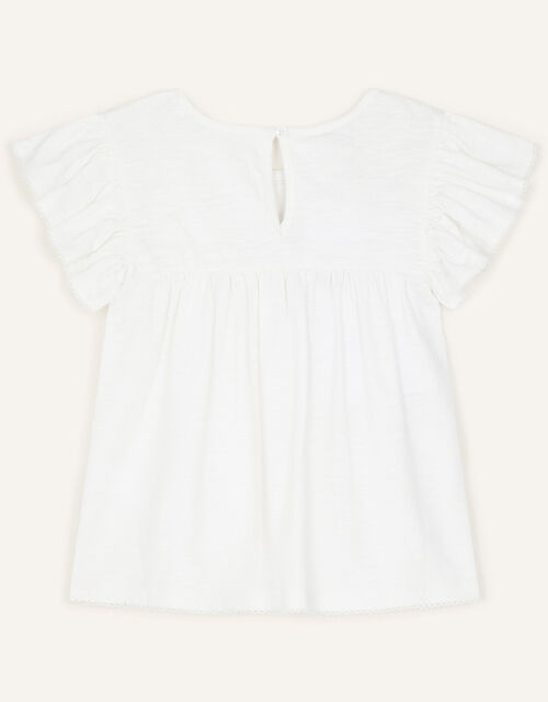Lace Flower Jersey Top, Ivory (IVORY), large