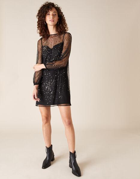 Stefania Embellished Star Tunic Dress Black, Black (BLACK), large