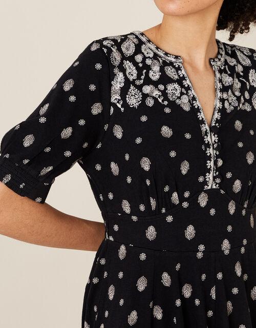 Alianna Heritage Print Hanky Hem Dress, Black (BLACK), large