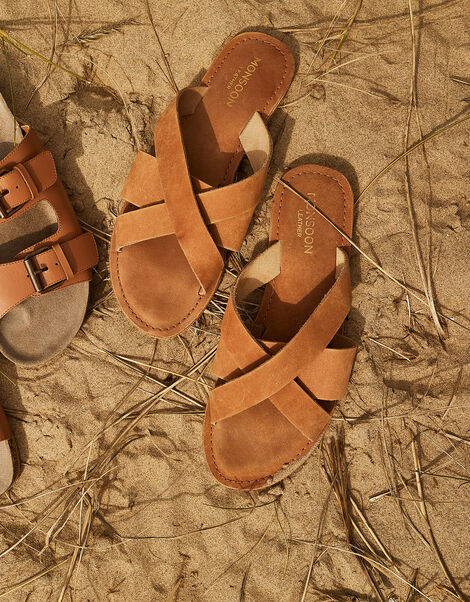 Leather Cross-Over Sliders Tan, Tan (TAN), large
