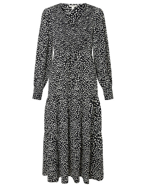 Monochrome Heart Midi Dress, Black (BLACK), large