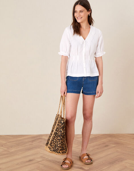 Embroidered Collar Puff Sleeve Blouse White, White (WHITE), large