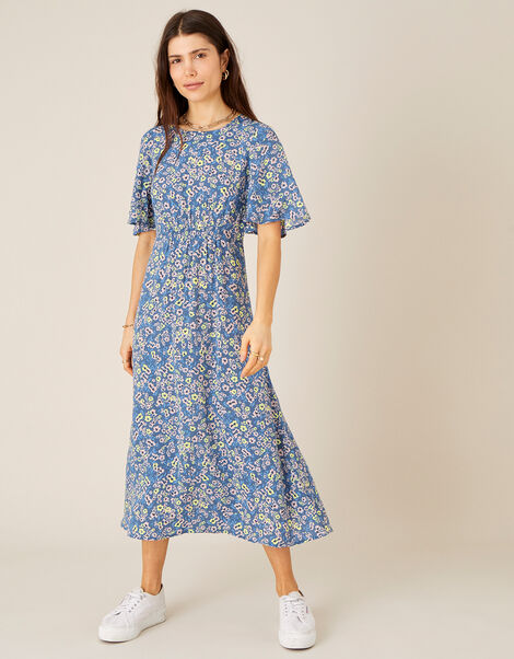 Darella Floral Print Midi Dress  Blue, Blue (BLUE), large