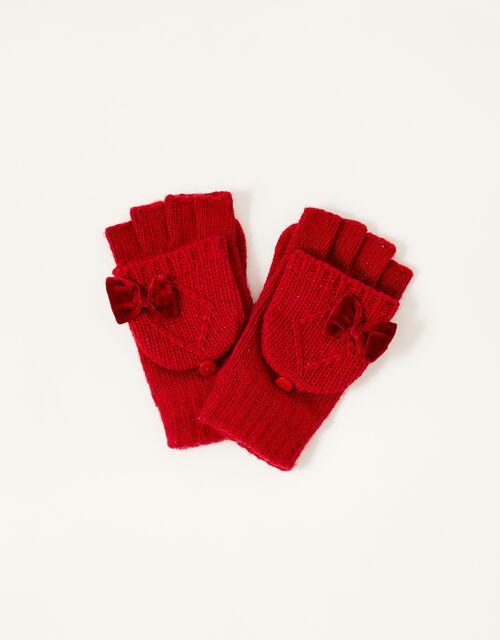 Ruby Velvet Bow Capped Gloves, Red (RED), large