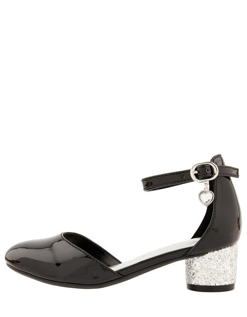 Heart Charm Patent Two-Part Heeled Shoes, Black (BLACK), large