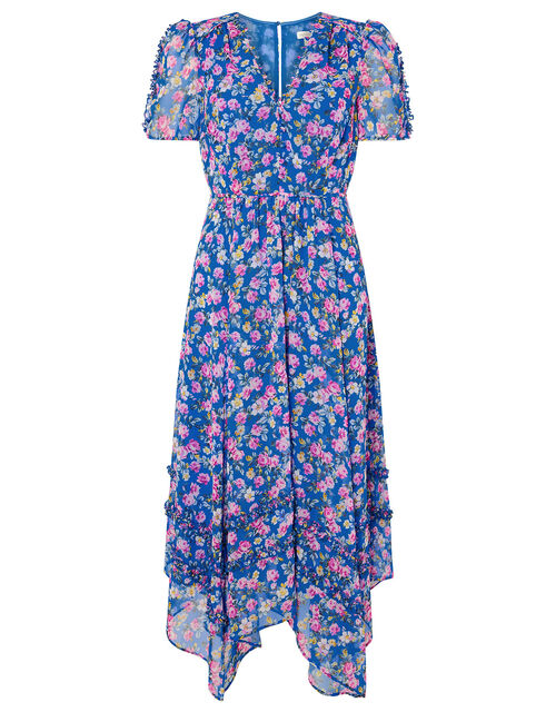 Rebecca Floral Chiffon Dress, Blue (BLUE), large