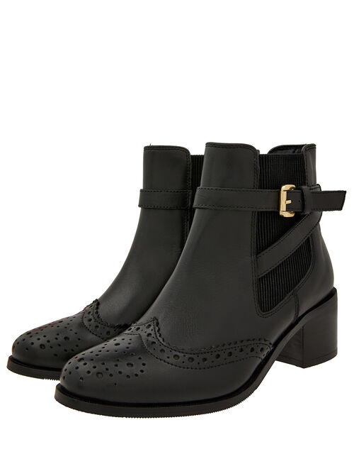 Beryl Brogue Buckle Leather Boots, Black, large
