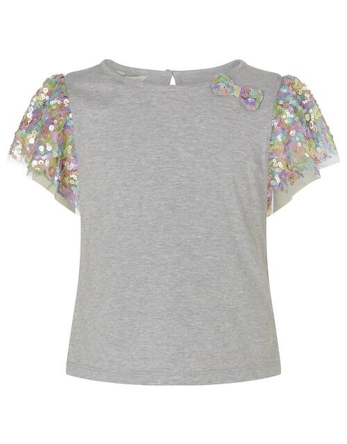 Rainbow Sequin T-shirt and Skirt Set, Grey (GREY), large