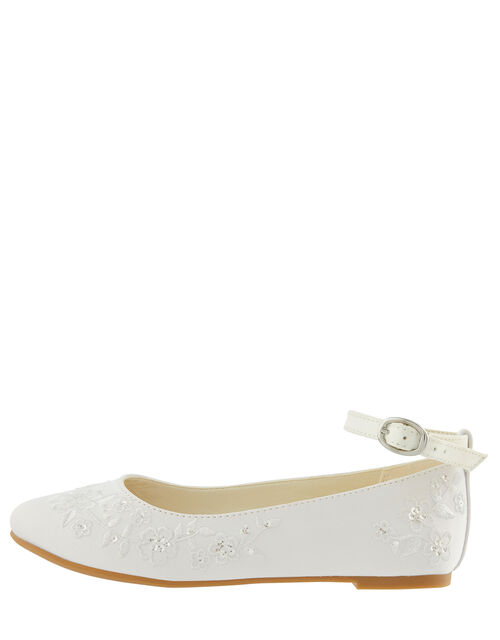 COMMUNION Embroidered Satin Ballerina Flats, White (WHITE), large