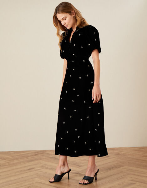 Embroidered Feather Velvet Midaxi Dress Black, Black (BLACK), large