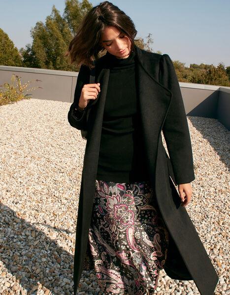 Paisley Print Satin Midi Skirt Black, Black (BLACK), large
