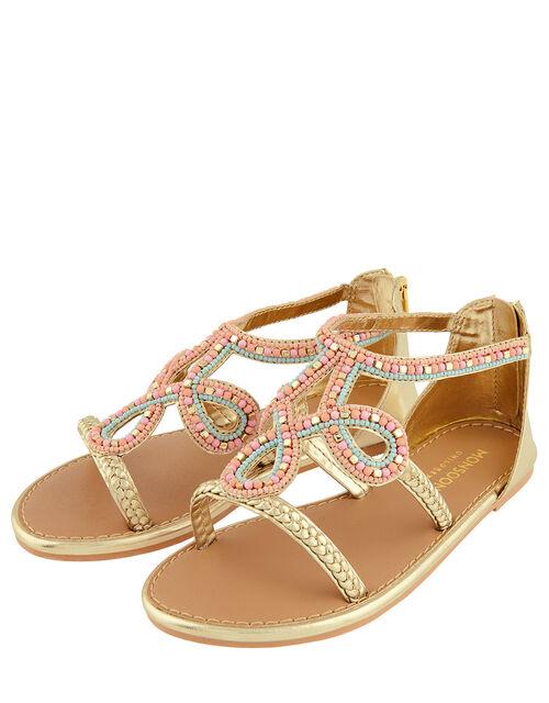 Beaded Plait Strap Sandals, Gold (GOLD), large