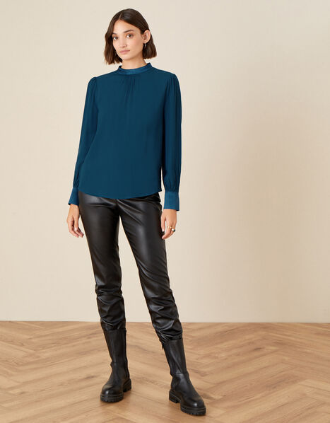 High Neck Pleated Long Sleeve Blouse Teal, Teal (TEAL), large