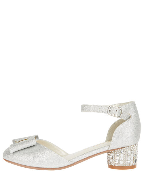 Carly Sparkle Bow Shoes, Silver (SILVER), large