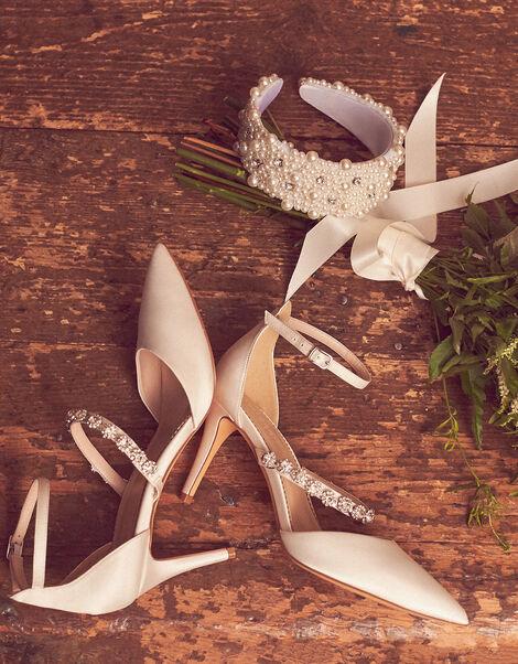 Pearly Strap Satin Bridal Sandals Ivory, Ivory (IVORY), large