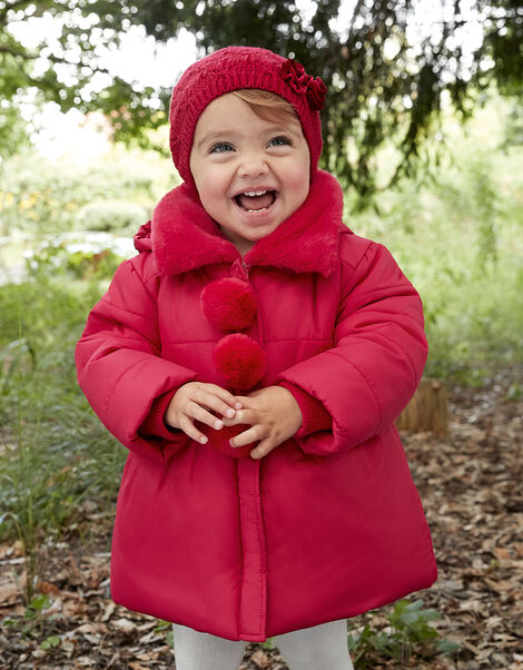 Baby Pom-Pom Padded Coat  Red, Red (RED), large