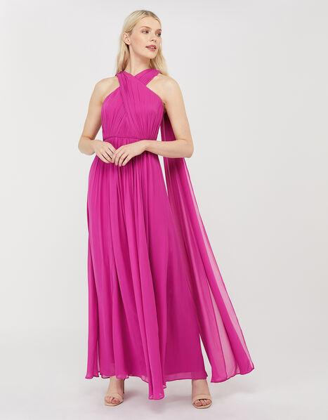 Maura Cross-Neck Cape Maxi Dress Pink, Pink (PINK), large