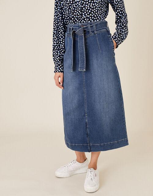 Straight Denim Midi Skirt, Blue (DENIM BLUE), large