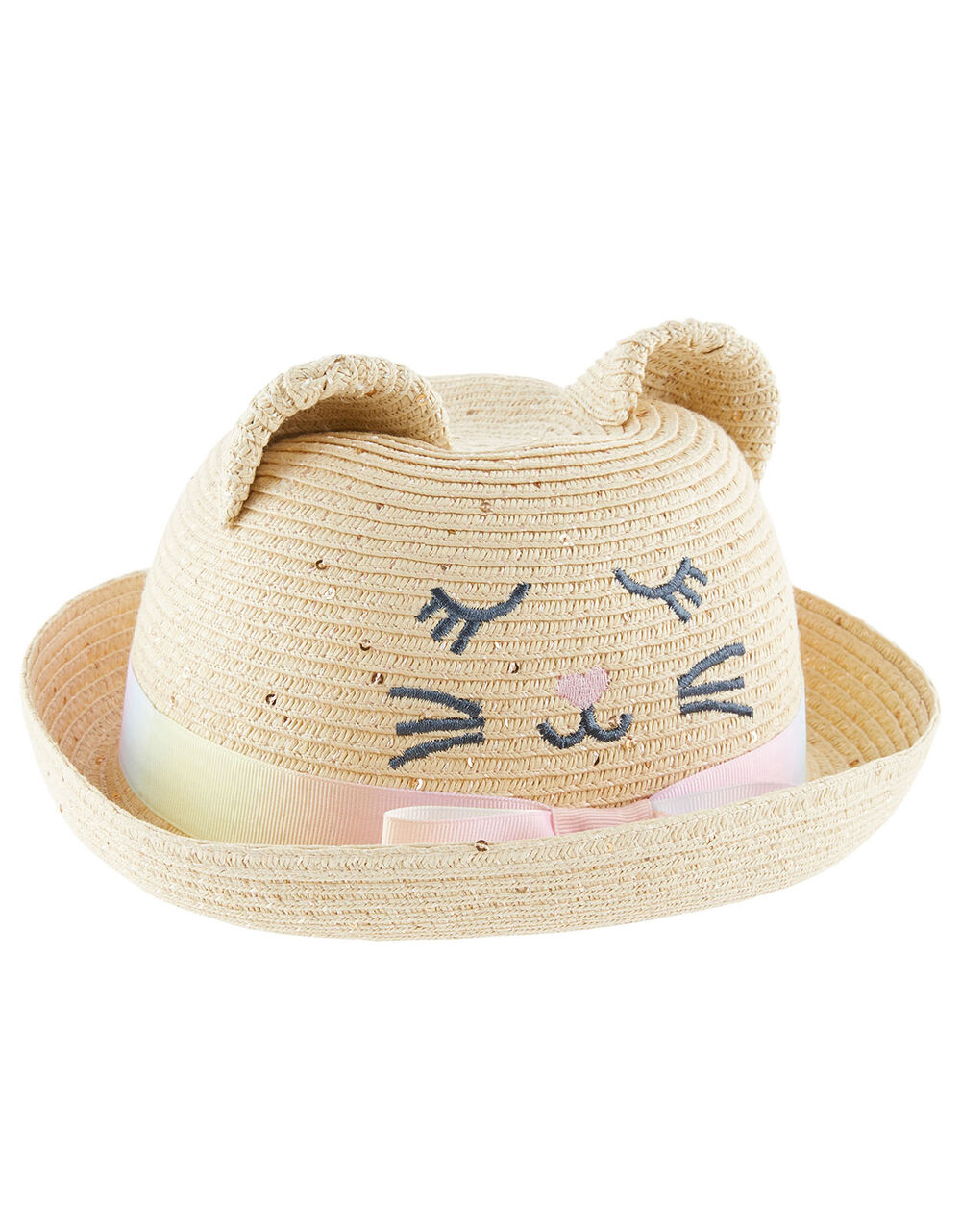 Baby Kitty Sequin Bowler Hat, Natural (NATURAL), large