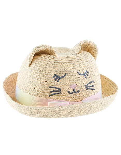 Baby Kitty Sequin Bowler Hat Natural, Natural (NATURAL), large
