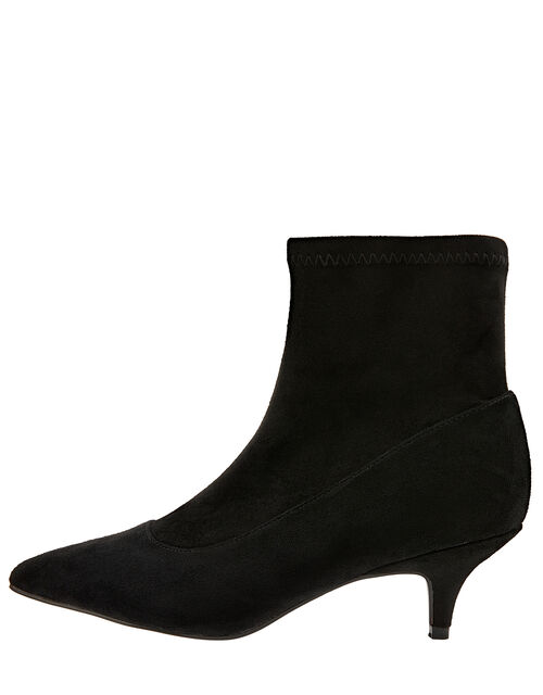 Vixie Ankle Suedette Sock Boots, Black, large