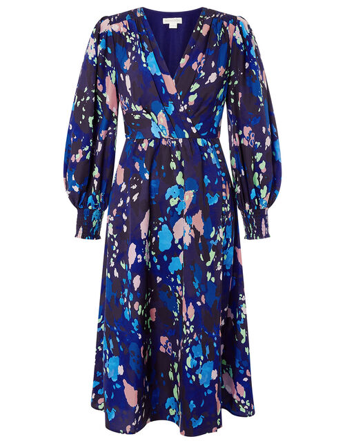 Anita Animal Print Wrap Dress, Blue (NAVY), large
