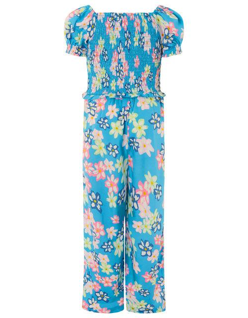 Floral Shirred Jumpsuit, Blue (BLUE), large
