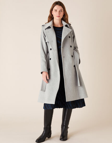 Trench Coat in Wool Blend Grey, Grey (GREY), large