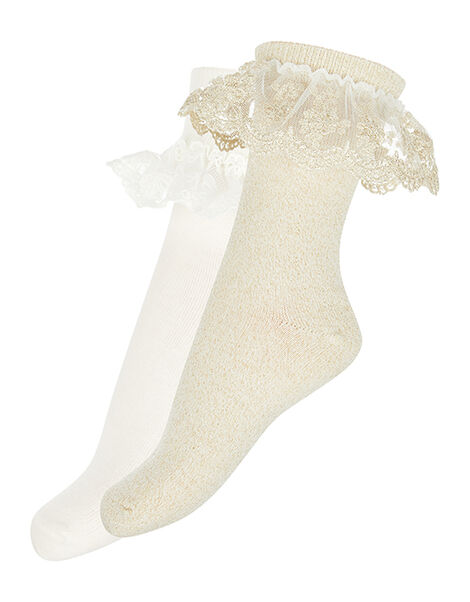 Lace Frill Sock Multipack Gold, Gold (GOLD), large