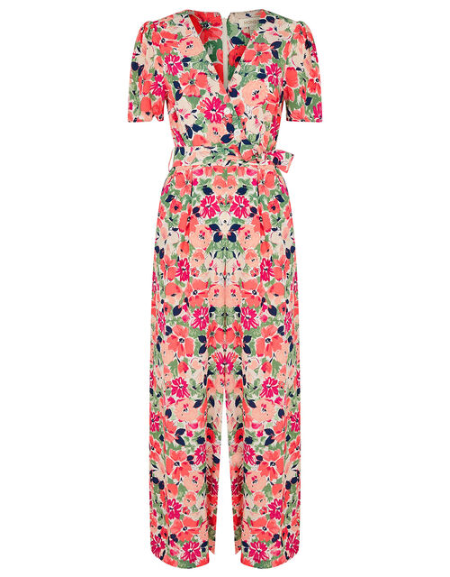 Monica Floral Wrap Jumpsuit, Pink (BLUSH), large