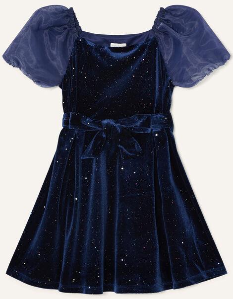 Puff Sleeve Sparkle Velvet Dress Blue, Blue (NAVY), large