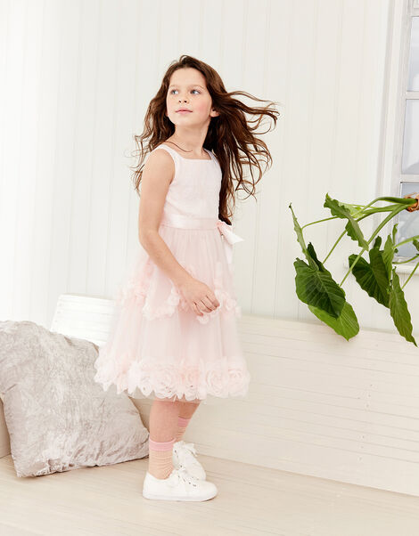 Rosette Lace Dress Pink, Pink (PALE PINK), large