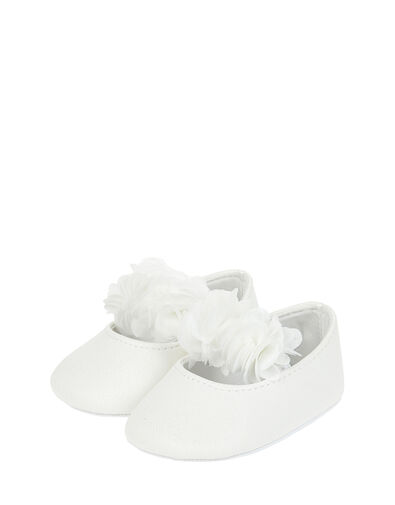 Baby Macaroon Corsage Booties Ivory, Ivory (IVORY), large