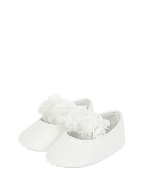 Baby Macaroon Corsage Booties, Ivory (IVORY), large