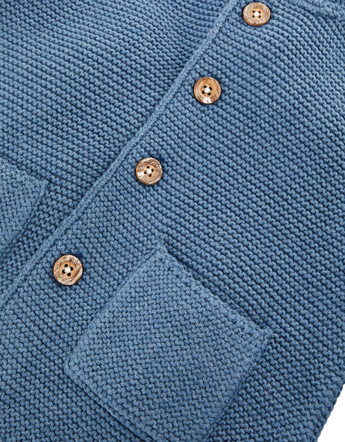 Newborn Baby Dog Cardigan in Organic Cotton, Blue (BLUE), large