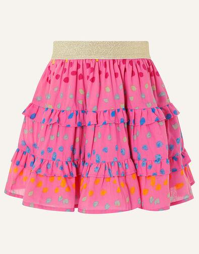 Rainbow Spot Frill Skirt Pink, Pink (BRIGHT PINK), large