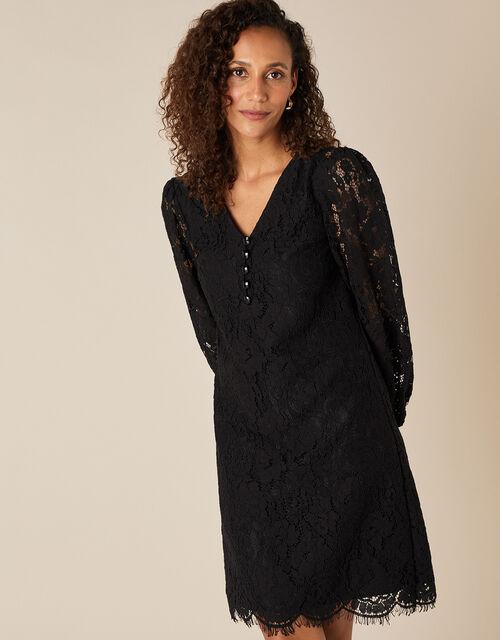 Lace Knee-Length Dress, Black (BLACK), large