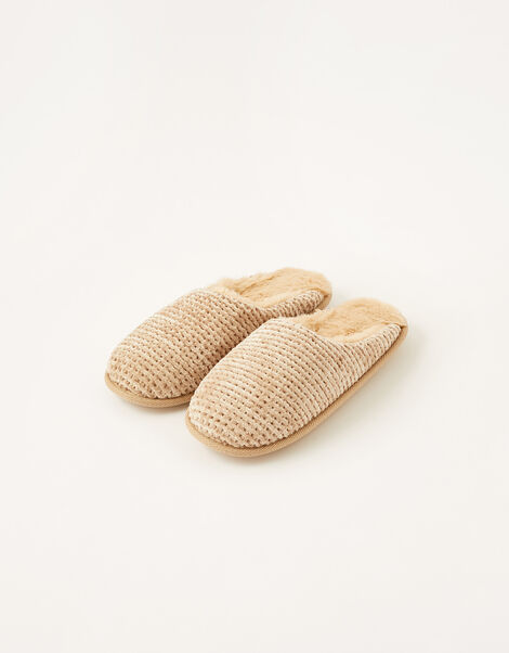 Chenille Mule Slippers Brown, Brown (MOCHA), large