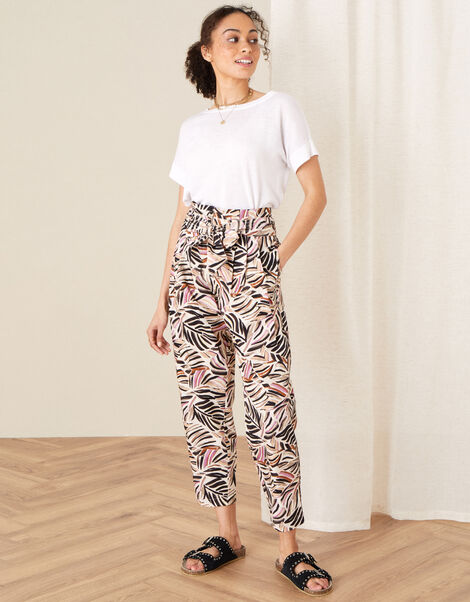 Palm Print Poplin Trousers Natural, Natural (STONE), large