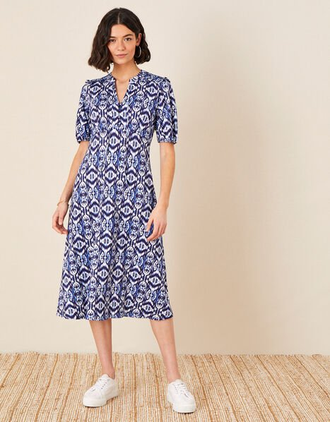 Ikat Printed Jersey Midi Dress Blue, Blue (BLUE), large